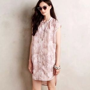 The Odells pineapple silk dress pink printed Xs